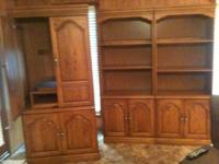 I am selling a 3 piece oak wood TV and shelf units made