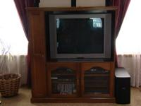 "Oak Entertainment Center fits TV opening 38"" x 28"""