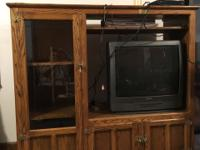 "Oak White Clad Entertainment Center.  59 1/2"" wide, 53"""