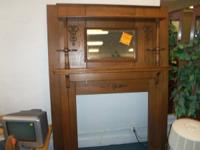 OAK FIREPLACE MANTEL WITH SILVER BEVELED GLASS ** OLD