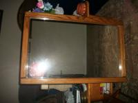 Large oak framed mirror can hang it long way or short