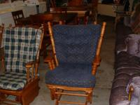 Oak Glider with blue cushions. Very Good Condition.