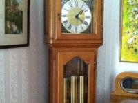 Nicely Carved Oak Grand Father Clock made in Germany