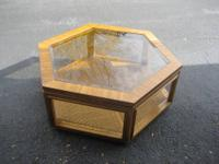 The hexagon oak table is 18 inches $40.00, the TV
