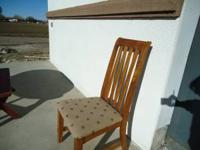 SINGLE OAK HIGH BACK CHAIR. $20.00 CASH  Location:
