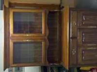Nice oak hutch with light in glass part Text Shane at