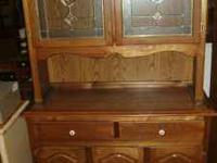 "Oak Hutch With Leaded Glass Doors - measures 48"" wide x"