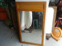 "Oak Mirror with Cane Insert  27"" W  x  47"" H  x  1.5"""