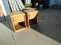PAIR OF OAK NIGHT STANDS. $50.00 CASH.  Location: