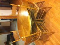 "nice 42"" round oak table phone  Location: New Castle"