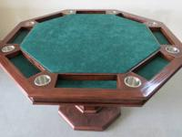 Customized built Oak poker table. Casino quality felt