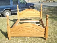 Beautiful, sturdy, queen size bed frame, solid oak
