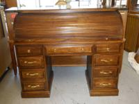 "Oak roll top desk in great condition 50"" wide x 22"""