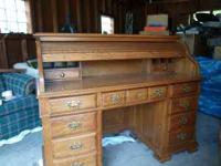 Oak Roll Top Desk in good condition. Oak wood. 45""