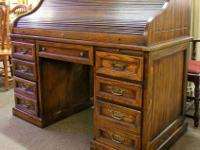 Vintage oak roll top desk with 7 drawers (including 2