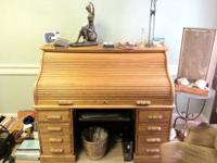 Oak roll top desk (roll top works well) Reproduction