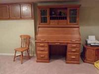 BEAUTIFUL OAK ROLLTOP DESK with CREDENZA, PAID $2000,