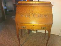 Antique Oak Secretary Desk, drop front with scroll