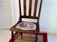 Antique Oak Chair with beautiful hand-hooked seat