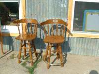 Bar Stools 2 Oak Swivel Bar Stools w/ gold bar foot