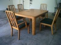 Solid Oak Table with 2 Captain Chairs and 3 regular