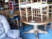 Selection of oak tables and chairs starting at $100 The