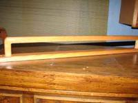 Oak hard wood towel rack wide enough to hold two towels