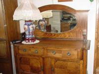 Art Nouveau Flanked & Striped Oak Sideboard/Dresser.