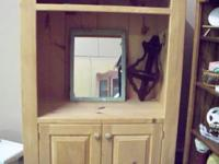 TV stand NOW $35.00. Mirror $25.00. Small Corner rack