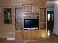 Oak wall entertainment center, customizeded from strong