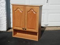 "OAK WOOD WALL HUNG CABINET Approximate Size: 29"" High"
