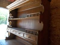 Beautiful quality built oak buffet and hutch set.