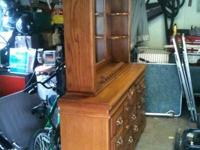Huge OAK  DRESSER WITH FRAMED MIRROR AND SHELVES