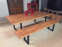 Our industrial butcher block tables are handmade from