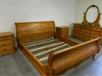 Solid oak king size bedroom set includes sleigh bed, 2