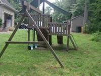 Oasis Swing Set Includes rock wall, two swings, one