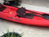 Ocean Paddler 12' double kayak, has places for 3 gear
