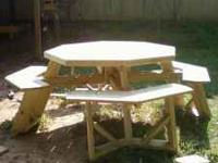 This octagon picnic table is made with all treated