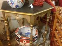 Octagonal Gilt Rubbed Antique Side Table Quirky and