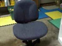 BLUE CHAIR, PADDED AND SWIVELS GOOD CONDITION CALL