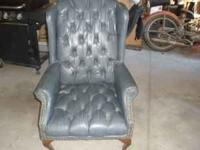 Blue leather office chair. It would go nice in any
