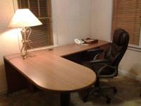 FOR SALE: Office desk with side arm and black leather