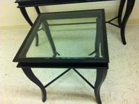"26""X26""X28""HIGH OFFICE END TABLE  GLASS TOP WITH BLACK"