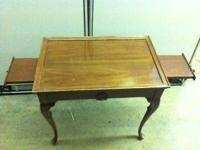 LUMBER(WALNUT) OFFICE END TABLE W/PULLOUT LEAVES.