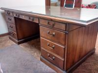 "Walnut Executive desk, 84"" X 42"" in excellent condition"