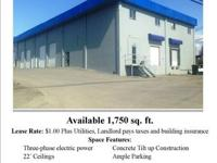 For LEASE  Office/Warehouse. ... 1,750 sq. ft. $1.00.