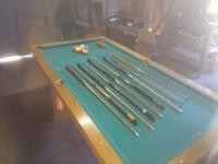 Ohausen pool table with all sticks and other