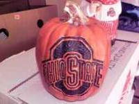 This is an official Ohio State Pumpkin. It is made of