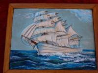 Oil on canvas, brilliant ocean blue colors, boat on the
