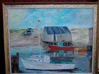Oil on Canvas, boat scene on water edge. Signed. Please